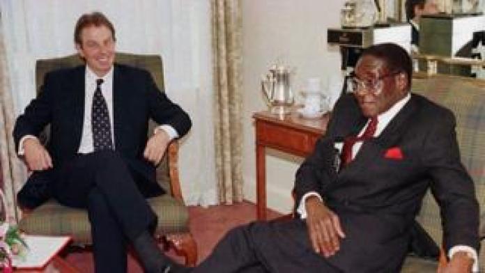 Tony Blair and Robert Mugabe in 1997