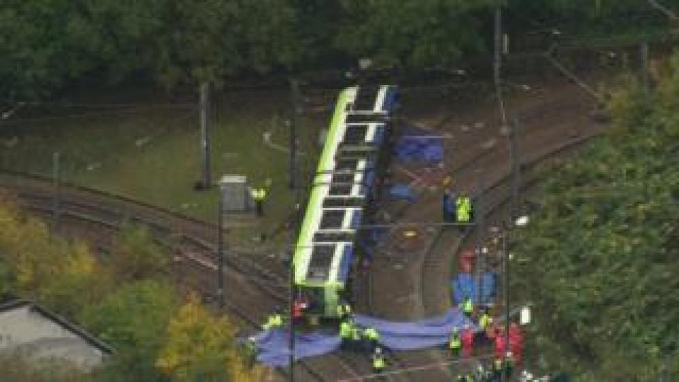 Overturned tram in Croydon