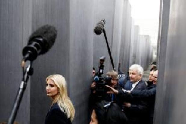 US President Donald Trump's daughter and assistant Ivanka Trump walks among steles at the Memorial to the Murdered Jews of Europe, also called the Holocaust Memorial, in Berlin, Germany, 25 April 2017. Ivanka Trump attended the W20 conference to promotes women's economic empowerment.
