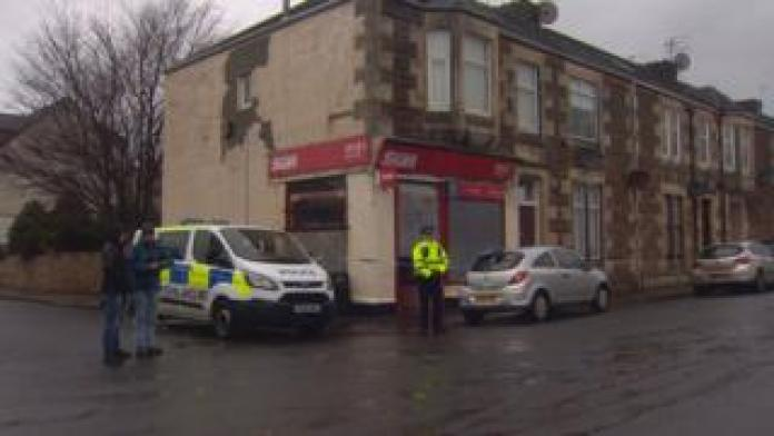 Police outside Wylie's newsagent