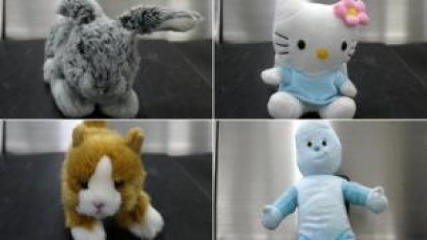 Clockwise from top left: Scared bunny, bewildered Hello Kitty, grumpy cat and Iggle Piggle