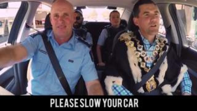 Still from Wellington Police's road safety video
