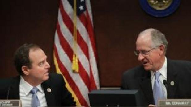 House Intelligence Committee ranking member Rep. Adam Schiff (D-CA) (L) and Rep. Mike Conaway (R-TX),