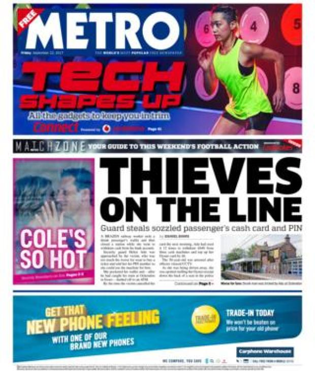 Metro front page 22/09/2017