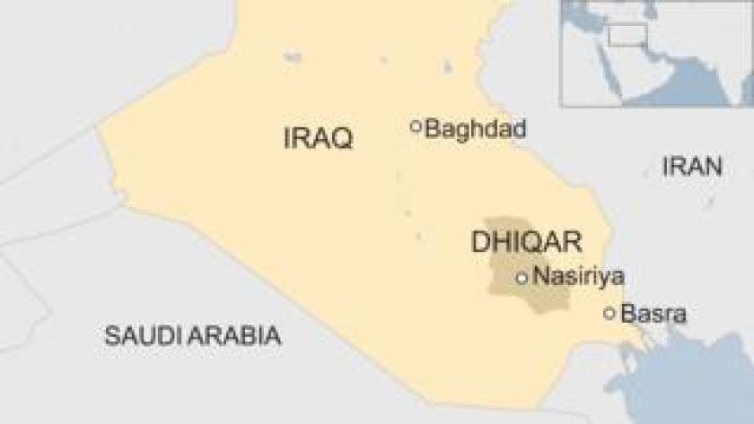Map showing Nasiriya in southern Iraq