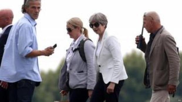 Theresa May arriving at Sirmione