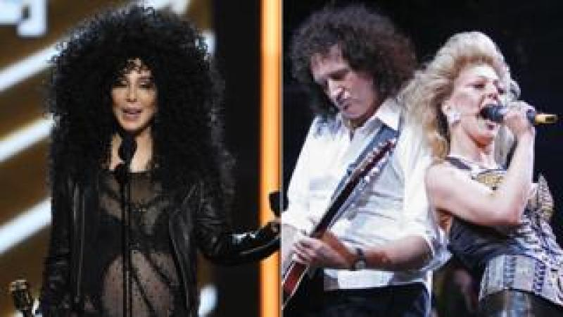 Cher and Brian May with actor