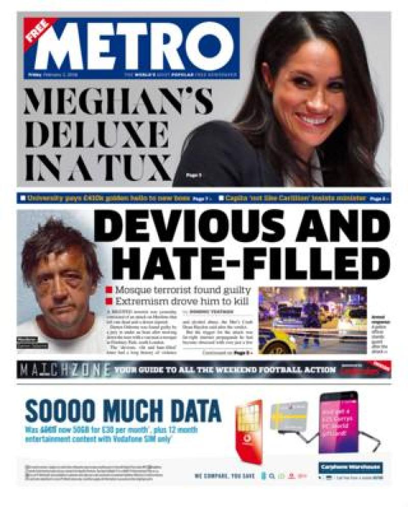 Metro front page - 02/02/18