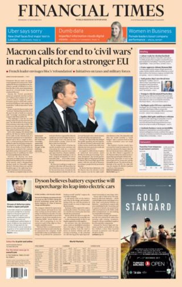Financial Times front - 27/9/17