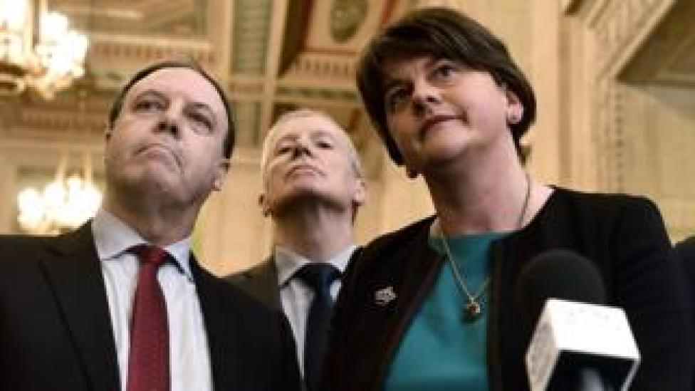 The DUP's Nigel Dodds, Gregory Campbell and Arlene Foster
