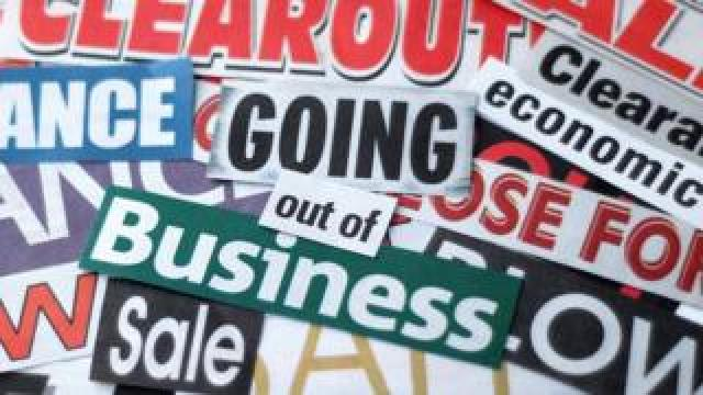 montage of signs saying, Going Out Of Business, Sale, Clearout
