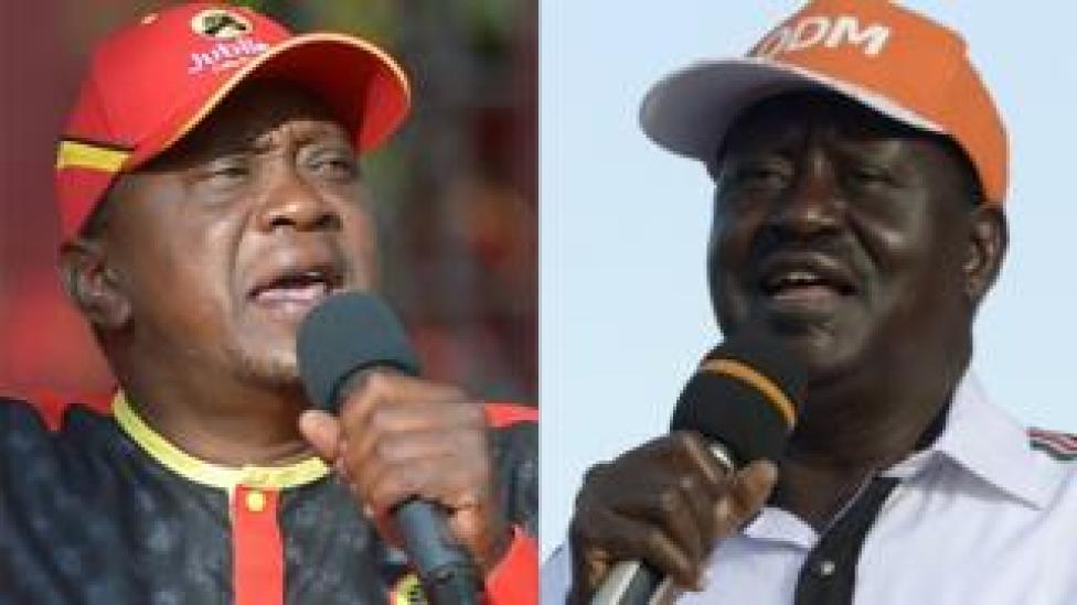 Uhuru Kenyatta (left), Kenya's president, is locked in a tight race with opposition leader Raila Odinga (pictured right).