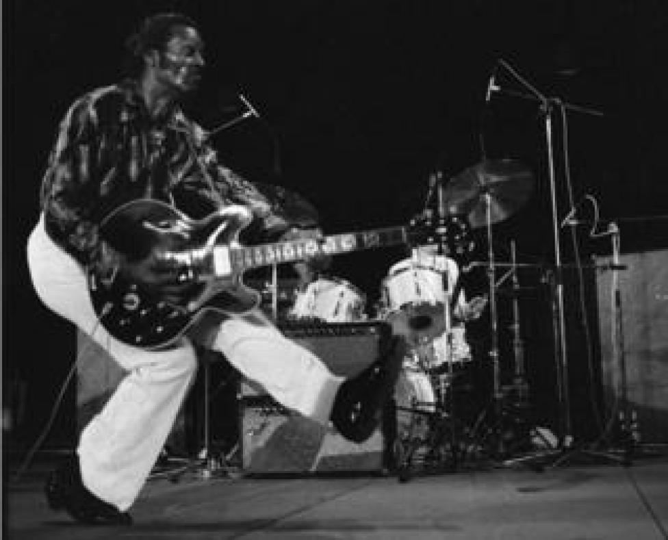 US rock singer Chuck Berry plays in concert in Vienne, France on 10 July, 1981