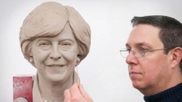 Clay model of Theresa May's head