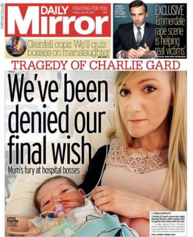 Daily Mirror front page - 28/07/17