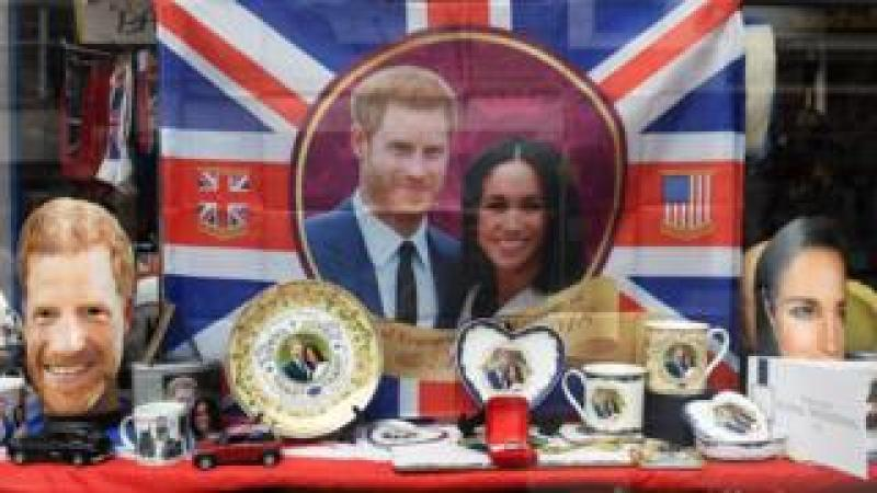 Royal wedding merchandise on sale at a store in Windsor
