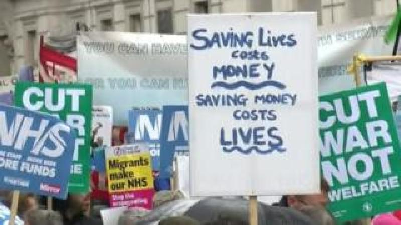 Placards at rally for the NHS