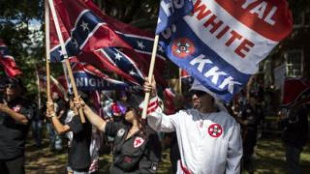 The Ku Klux Klan protests in Charlottesville, Virginia, 8 July 2017