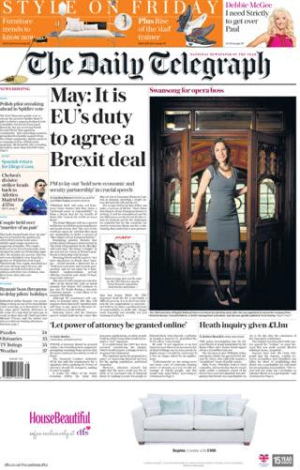 Daily Telegraph front page 22/09/2017