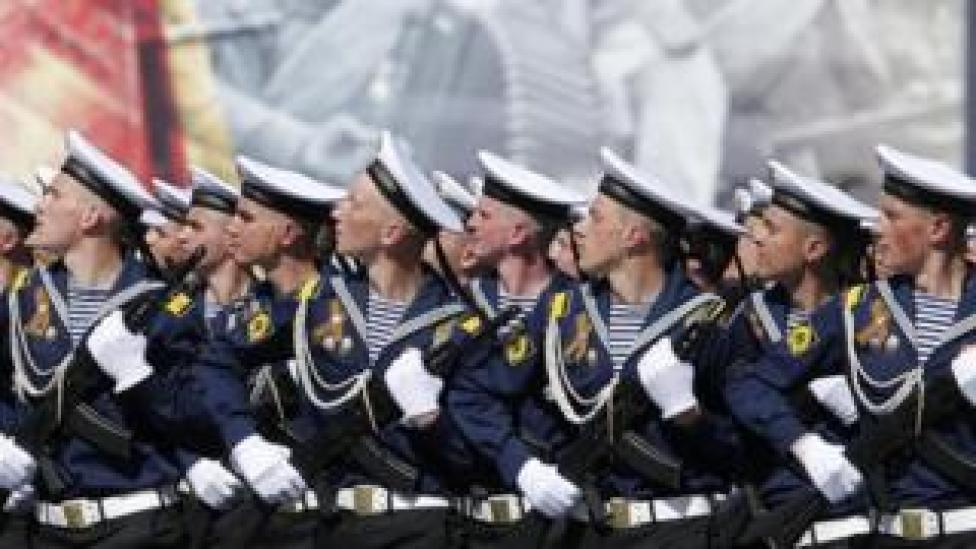 Sailors parading in Moscow, 9 May 16
