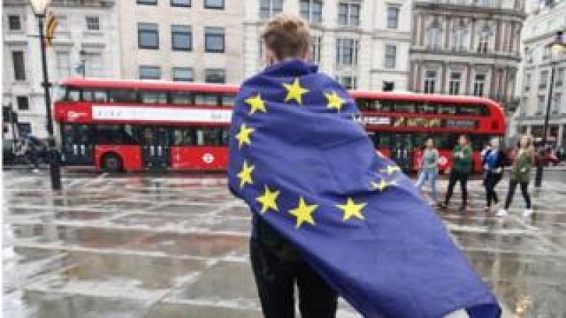 Demonstrator wrapped in EU flag