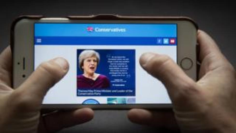 Conservative Party website on iPhone