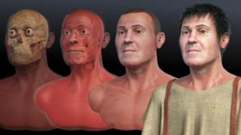 Fases de la reconstrucción facial de San Valentín