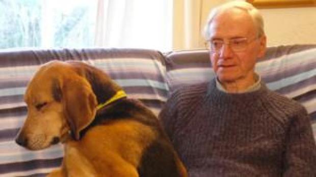 Peter Wrighton with one of his dogs