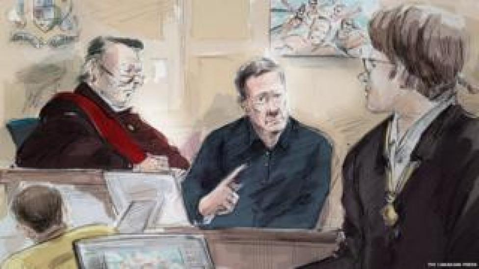 From left to right, Mark Smich, Justice Michael Code, Dr. Robert Burns and Dellen Millard are shown in an artist's sketch at the Laura Babcock murder trial on 16 Novemeber 2017