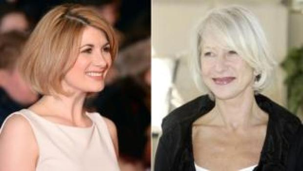 Portraits of Jodie Whittaker and Helen Mirren.