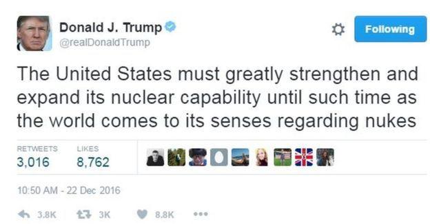 Trump nói Hoa Kỳ cần tăng cường kho vũ khí nguyên tử 'cho thế giới' biết điều hơn