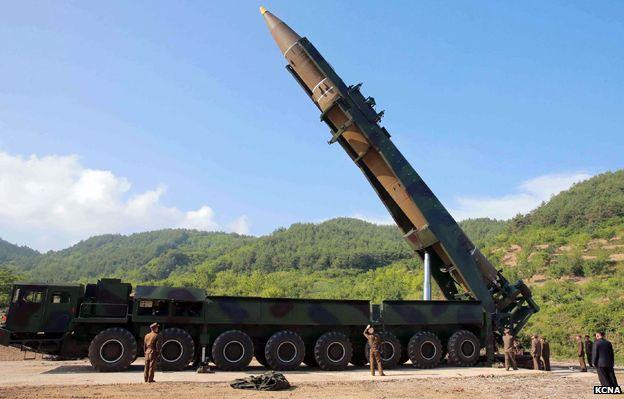 Misil Hwasong-14 en Corea del Norte.