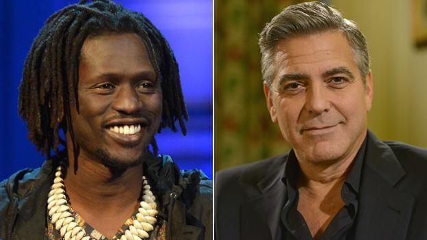 Emmanuel Jal and George Clooney