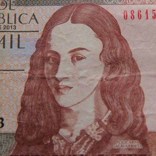 Rostro de Policarpa Salavarrieta en el billete de 10.000 pesos.