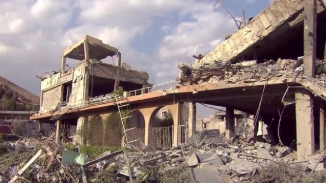 The post-strike destroyed Barzeh complex in Damascus, as shown by CBS News on 14 April 2018