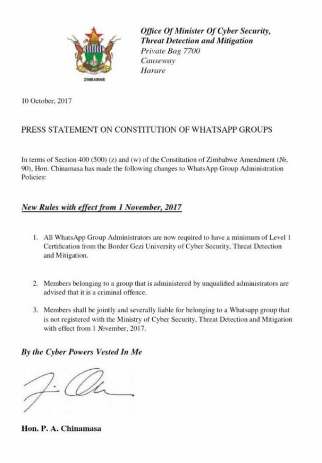 Spoof statement pretending to be from from Zimbabwe's Cyber Security ministry
