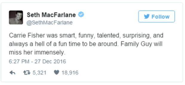 A tweet from Seth MacFarlane reads: