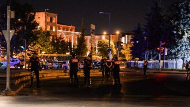 Police were standing guard outside the Turkish military HQ in Ankara