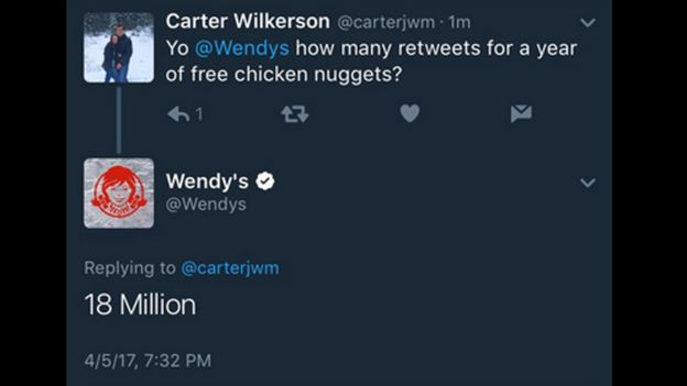 Carter Wilkerson's twitter conversation with Wendy's