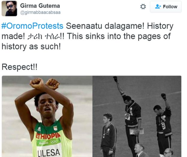 Tweet shows photo composite of Lilesa crossing arms in protest on the finish line with famous black power protest from 1986 Olympics. Caption reads: