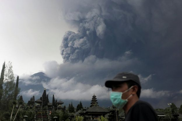 Mount Agung volcano erupts as seen from Besakih Temple in Karangasem, Bali, Indonesia on 26 November 2017.