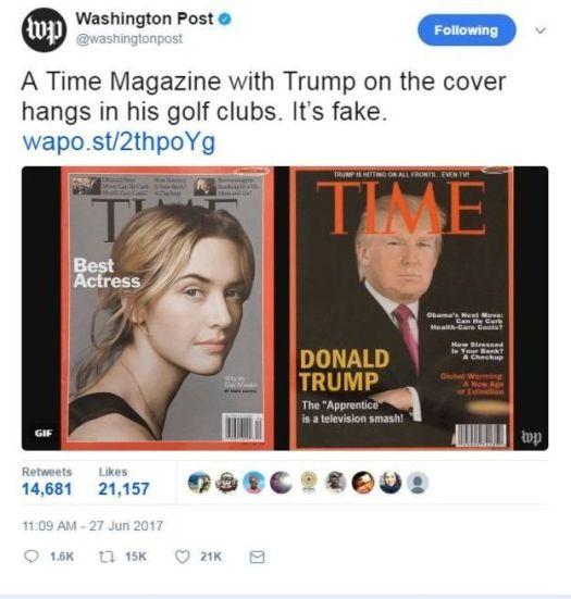 Imagem falsa da capa da revista