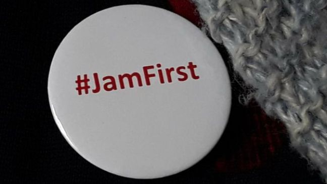 '#JamFirst' badge