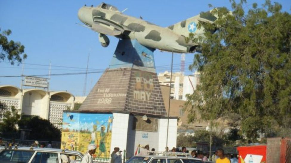 Russian MiG fighter in central square, Hargeisa