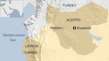 Map of Syria showing location of Kuwairis airbase