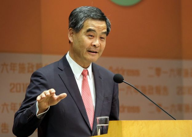 Hong Kong's Chief Executive Leung Chun-ying speaks to the media at a press conference after delivering his 2016 Policy Address to the Legislative Council in the Admiralty district of Hong Kong on 13 January 2016.