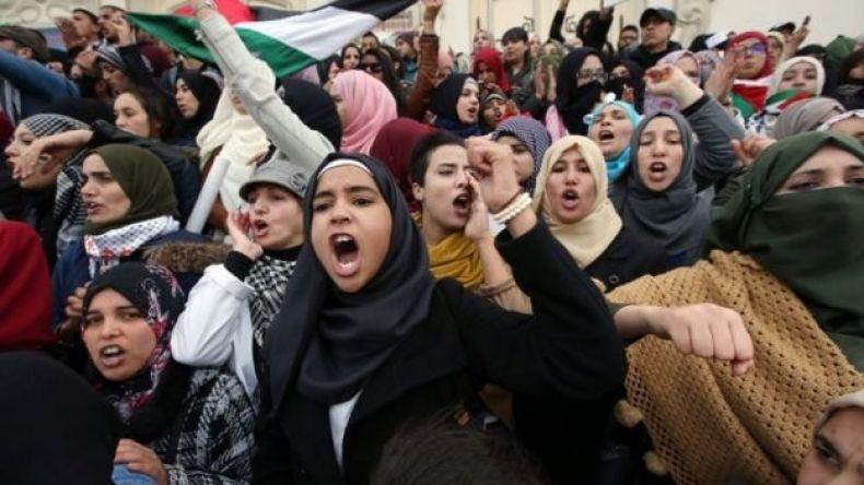 Protesta en territorios palestinos