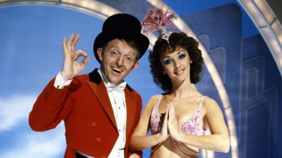 Paul Daniels and Debbie McGee appearing on the Paul Daniels Magic Show in 1985