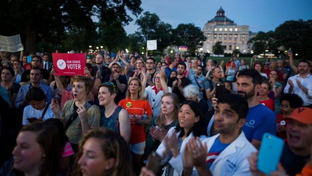 Public supporters of Democratic members of Congress staging a
