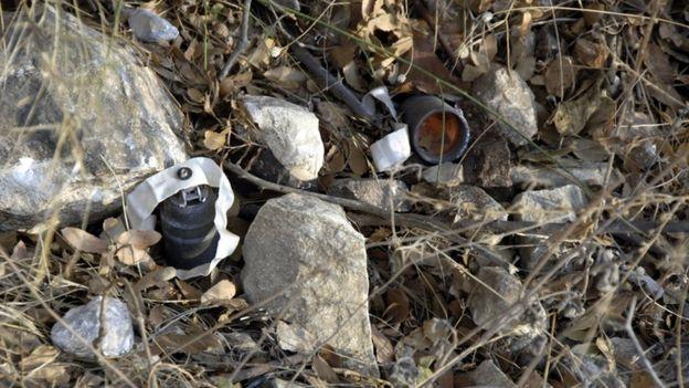 Bomba de fragmentação usada na guerra da Síria, em 2013